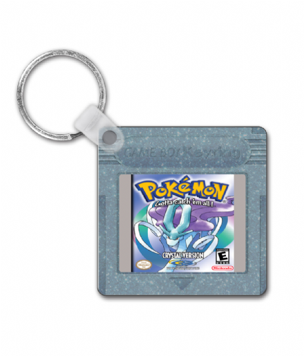 Gameboy Cartridge Pokemon Crystal Design Square Keyring